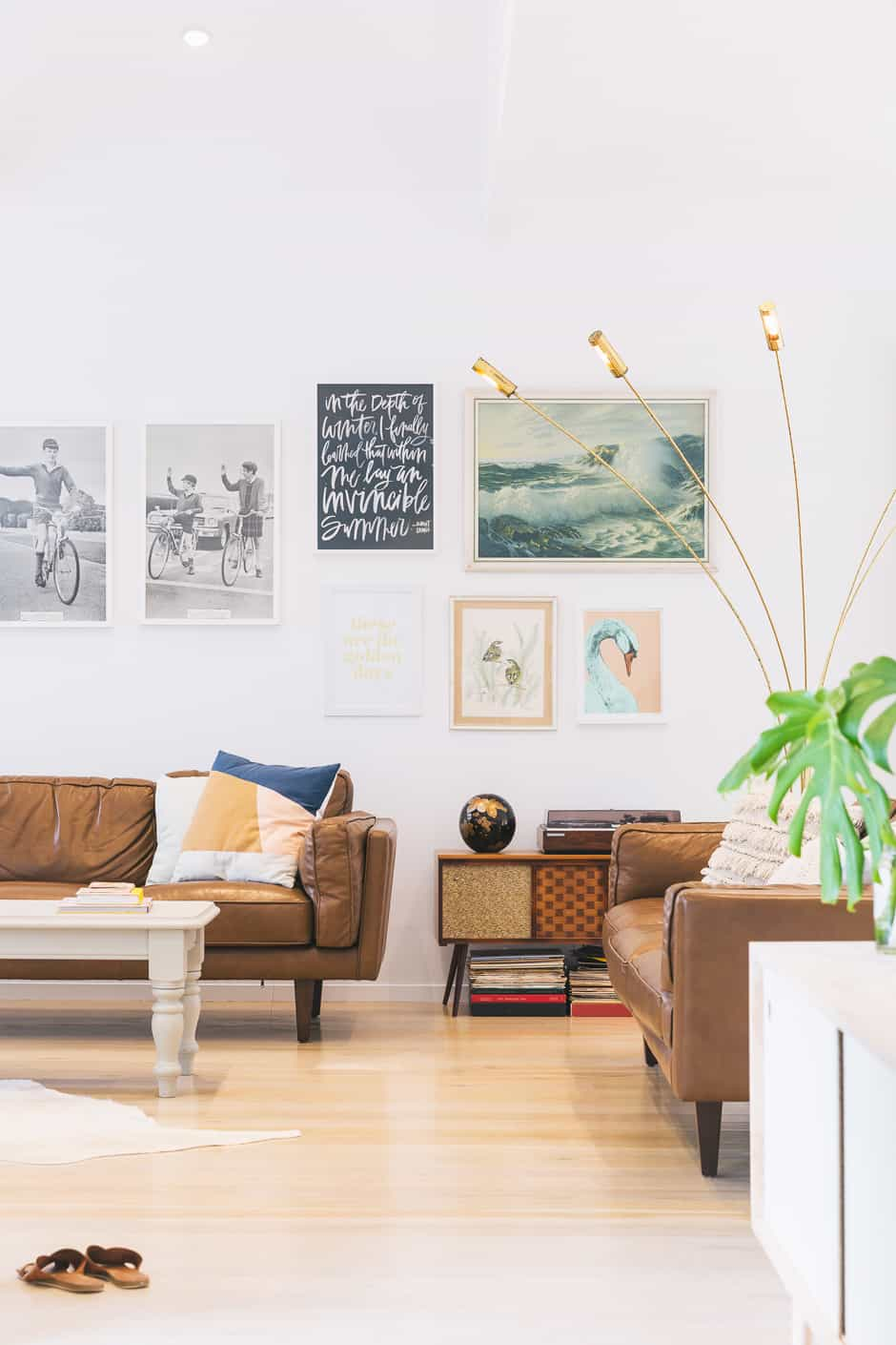 LIVING Houseplants are an essential for Clare, who incorporates them into vignettes in every room. A recessed area off the hallway was originally intended to be a cupboard, but the installation of an in-built desk has seen it become an office that allows Clare to freelance from home.