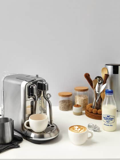 FROM LEFT Nespresso Creatista Plus machine (with milk jug), $899; limited-edition Festive Variations Grands Crus coffee, $11.30/sleeve; chromium-plated recycling canister, $35, nespresso.com. https://www.nespresso.com/nz/en/All other items stylist's own.