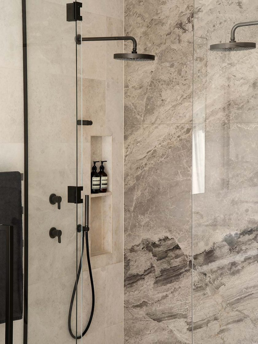This renovated ensuite's a dream due to a skilfull selection of fixtures and fittings